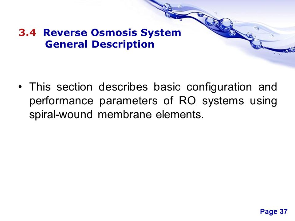 3.4 Reverse Osmosis System General Description