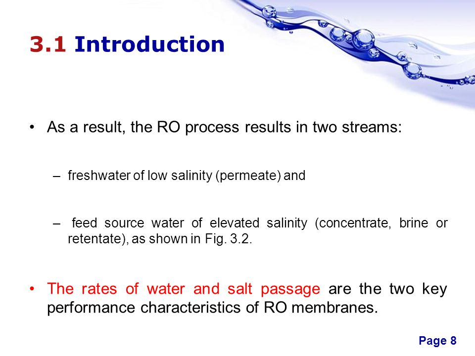 3.1 Introduction As a result, the RO process results in two streams: