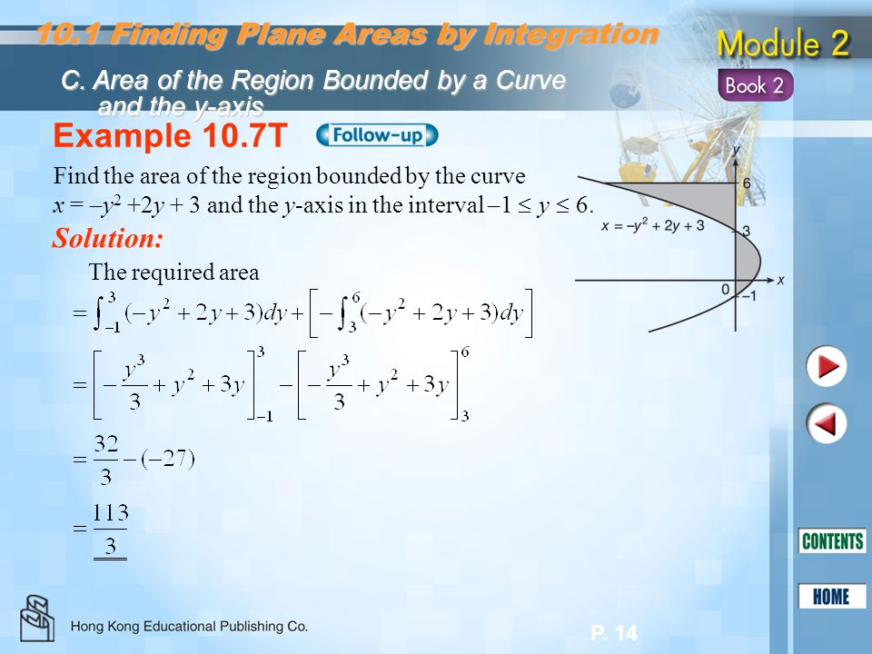 Example 10.7T 10.1 Finding Plane Areas by Integration Solution: