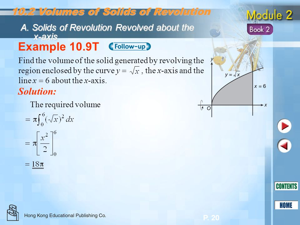 Example 10.9T 10.2 Volumes of Solids of Revolution Solution: