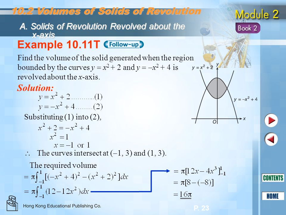Example 10.11T 10.2 Volumes of Solids of Revolution Solution:
