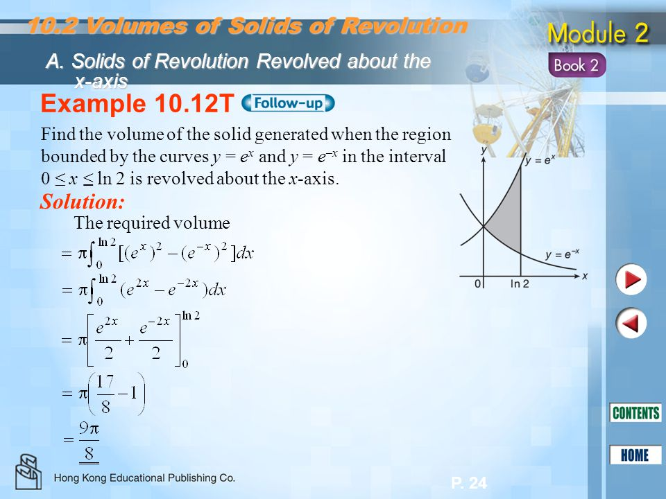 Example 10.12T 10.2 Volumes of Solids of Revolution Solution: