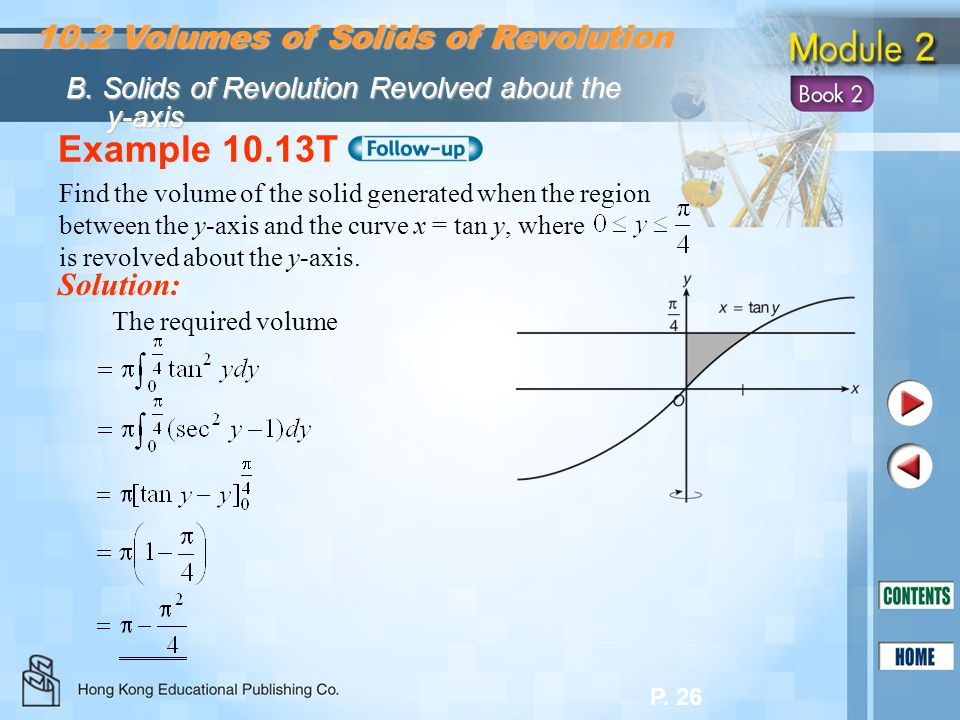 Example 10.13T 10.2 Volumes of Solids of Revolution Solution: