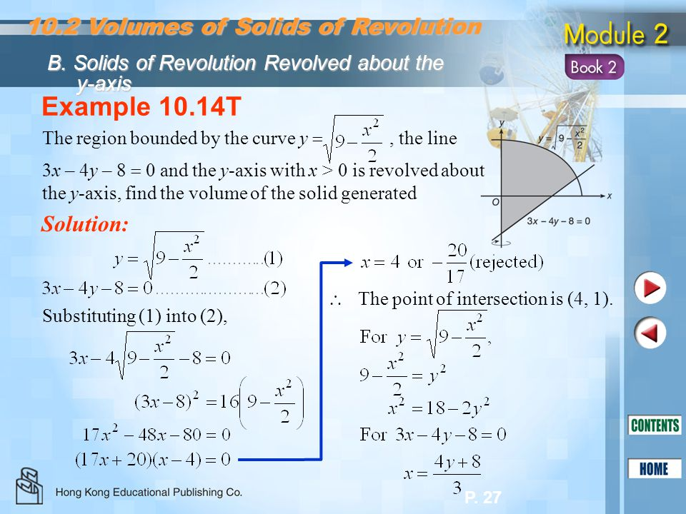 Example 10.14T 10.2 Volumes of Solids of Revolution Solution: