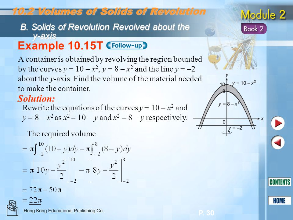 Example 10.15T 10.2 Volumes of Solids of Revolution Solution: