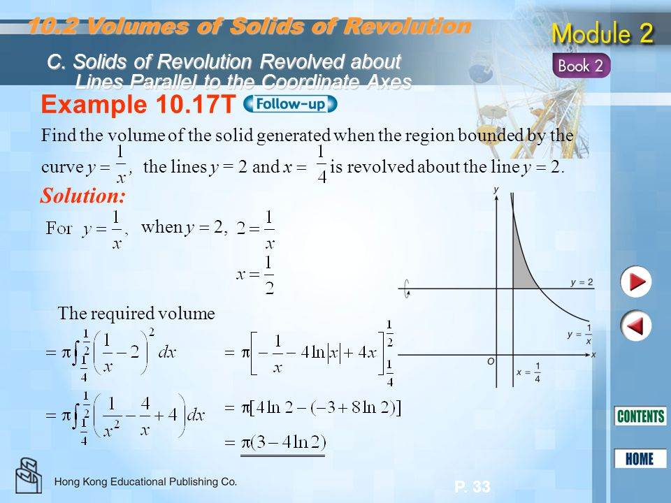 Example 10.17T 10.2 Volumes of Solids of Revolution Solution: