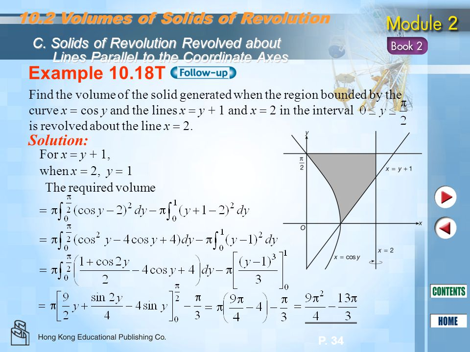 Example 10.18T 10.2 Volumes of Solids of Revolution Solution: