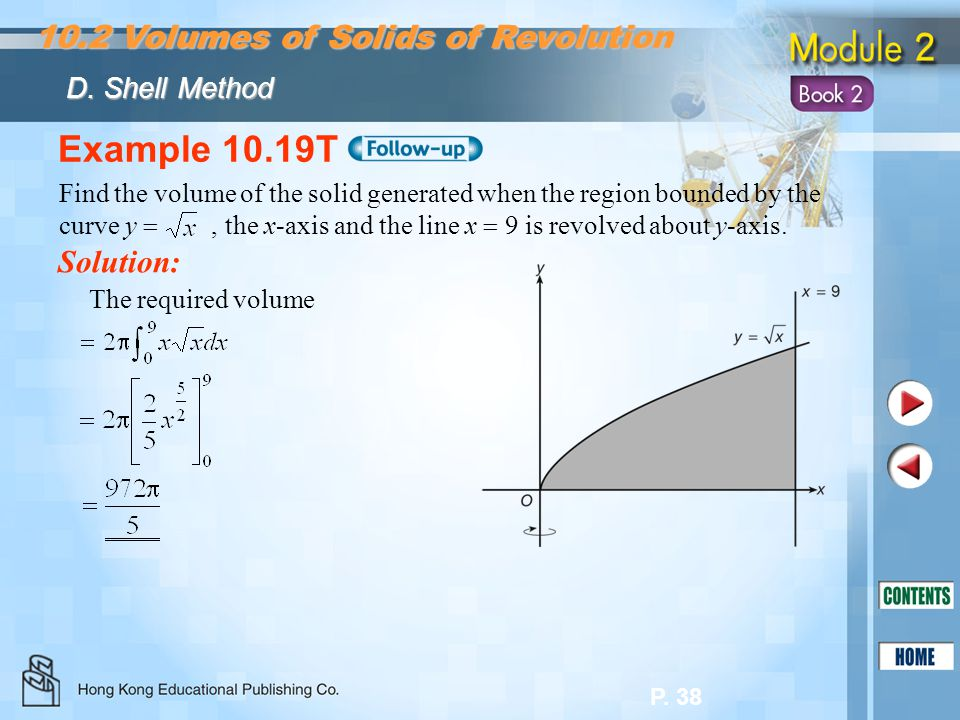 Example 10.19T 10.2 Volumes of Solids of Revolution Solution: