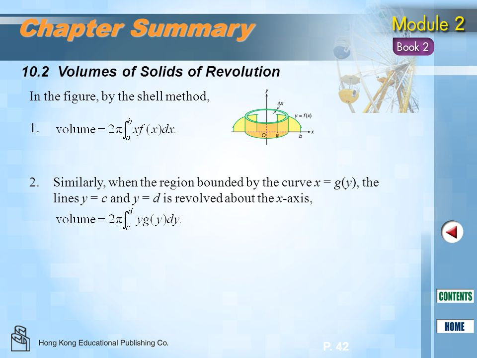 Chapter Summary 10.2 Volumes of Solids of Revolution