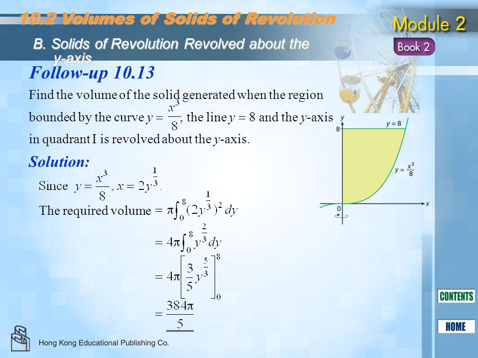 Follow-up Volumes of Solids of Revolution Solution: