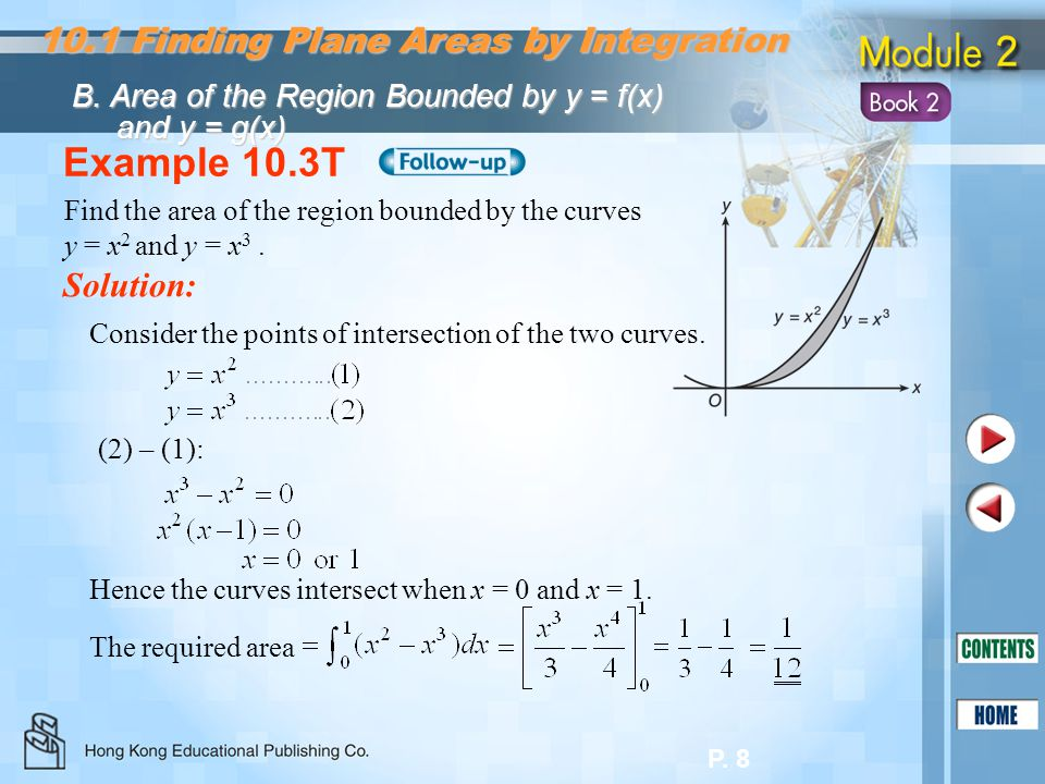 Example 10.3T 10.1 Finding Plane Areas by Integration Solution: