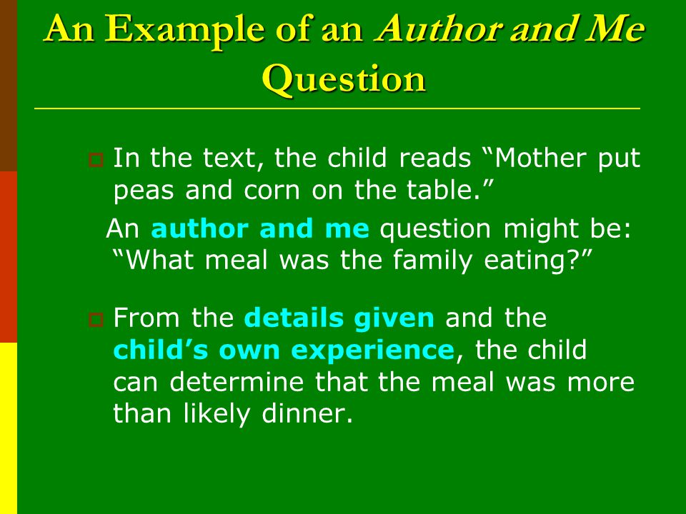 An Example of an Author and Me Question