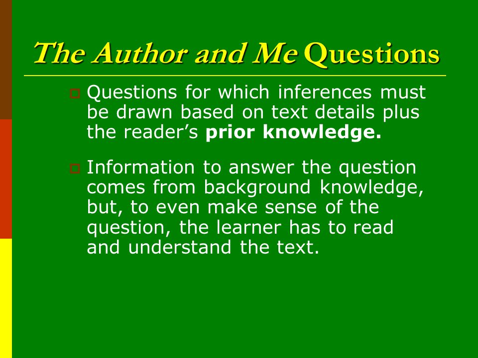 The Author and Me Questions