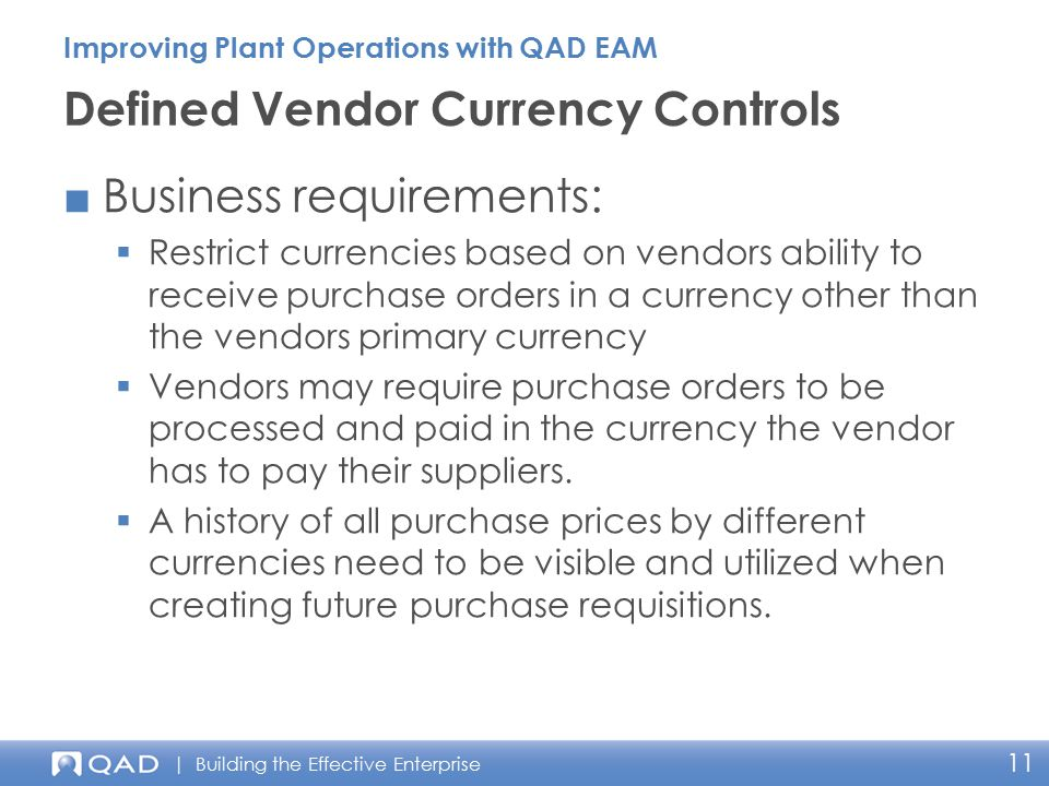 Defined Vendor Currency Controls