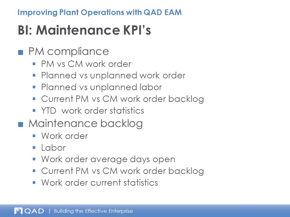BI: Maintenance KPI's PM compliance Maintenance backlog