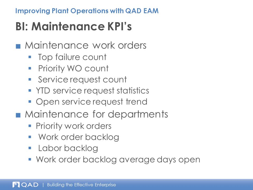 BI: Maintenance KPI's Maintenance work orders