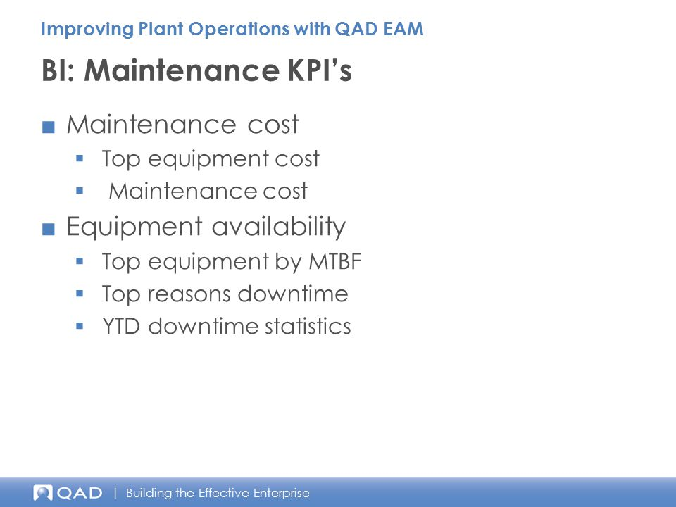 BI: Maintenance KPI's Maintenance cost Equipment availability