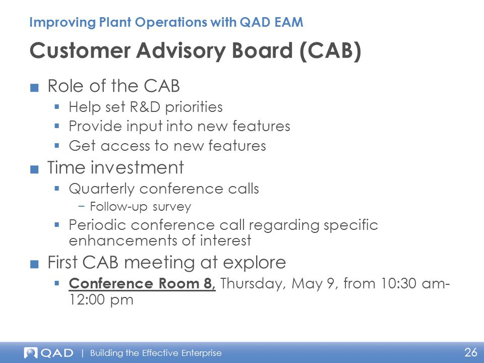 Customer Advisory Board (CAB)