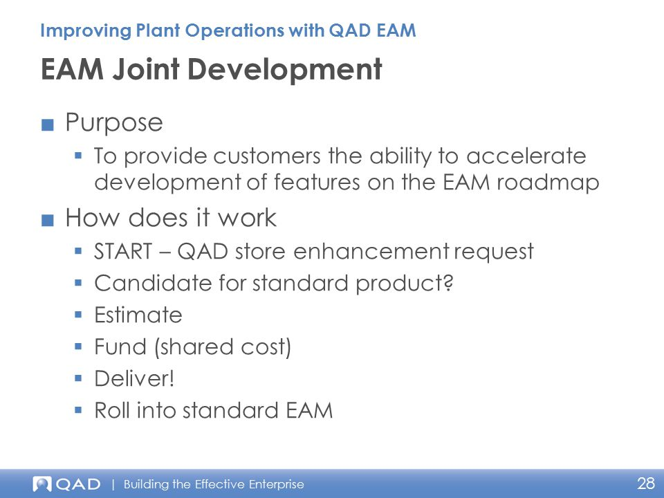 EAM Joint Development Purpose How does it work