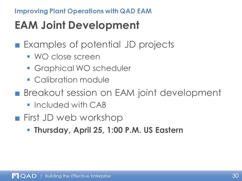 EAM Joint Development Examples of potential JD projects