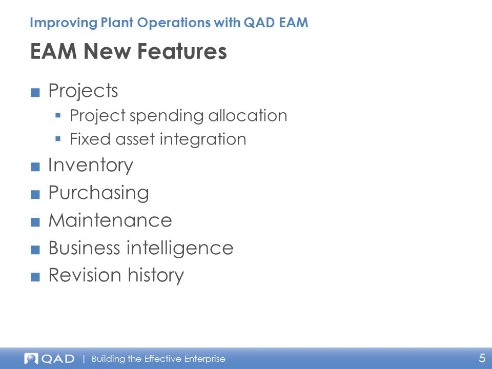 EAM New Features Projects Inventory Purchasing Maintenance