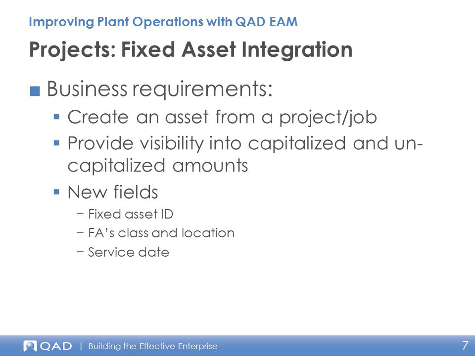 Projects: Fixed Asset Integration