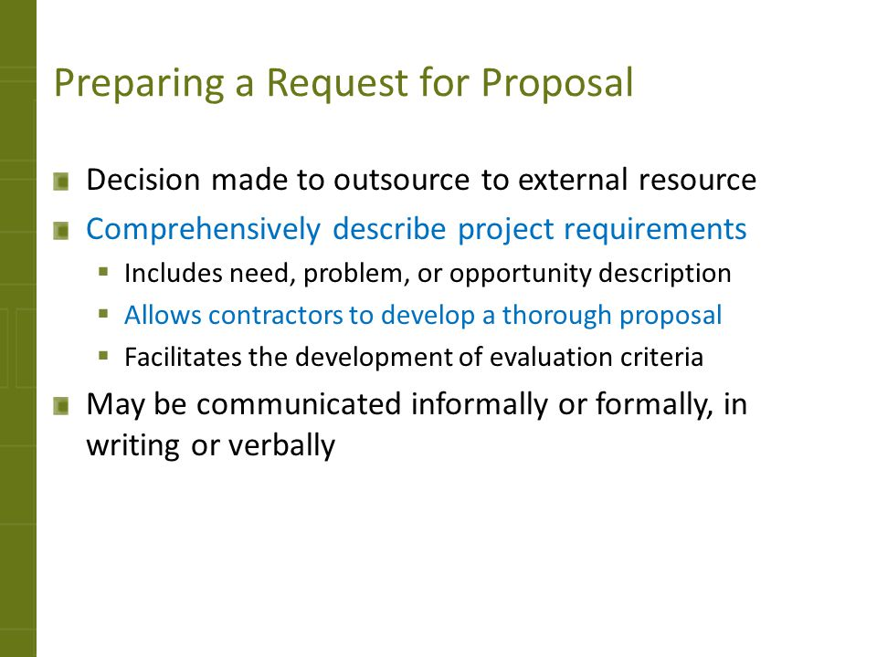 Preparing a Request for Proposal