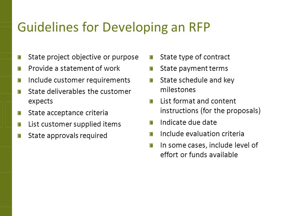 Guidelines for Developing an RFP