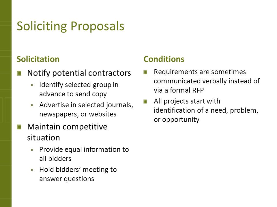 Soliciting Proposals Solicitation Conditions