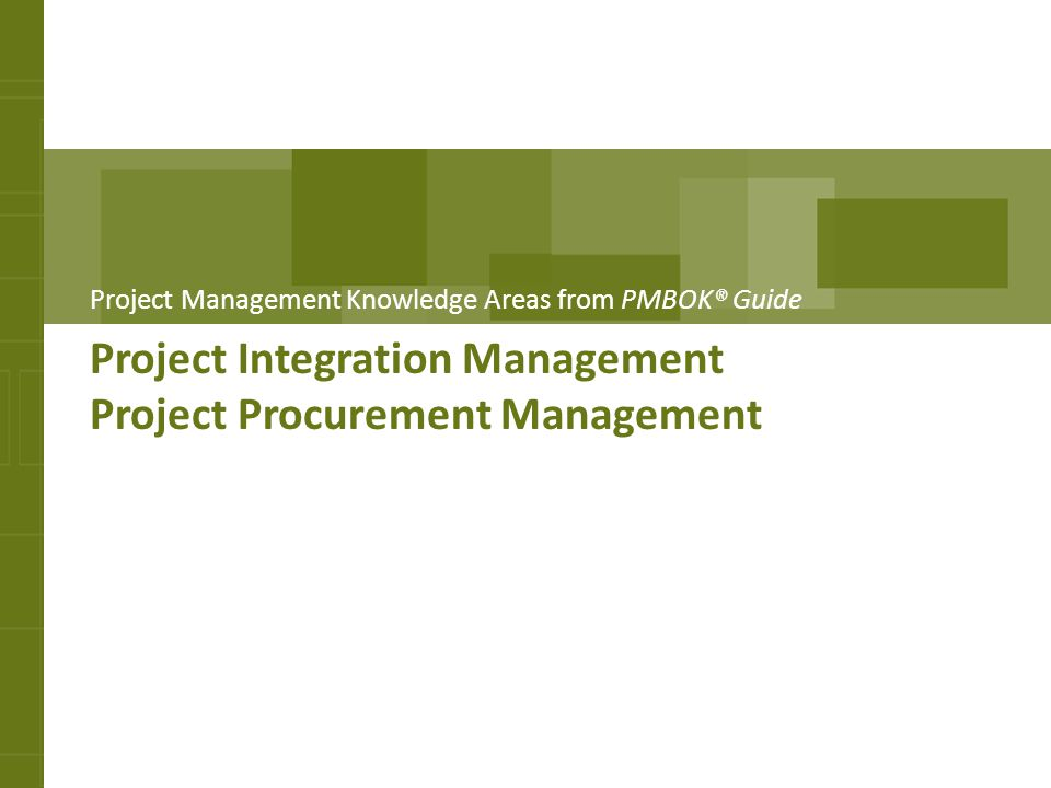 Project Integration Management Project Procurement Management
