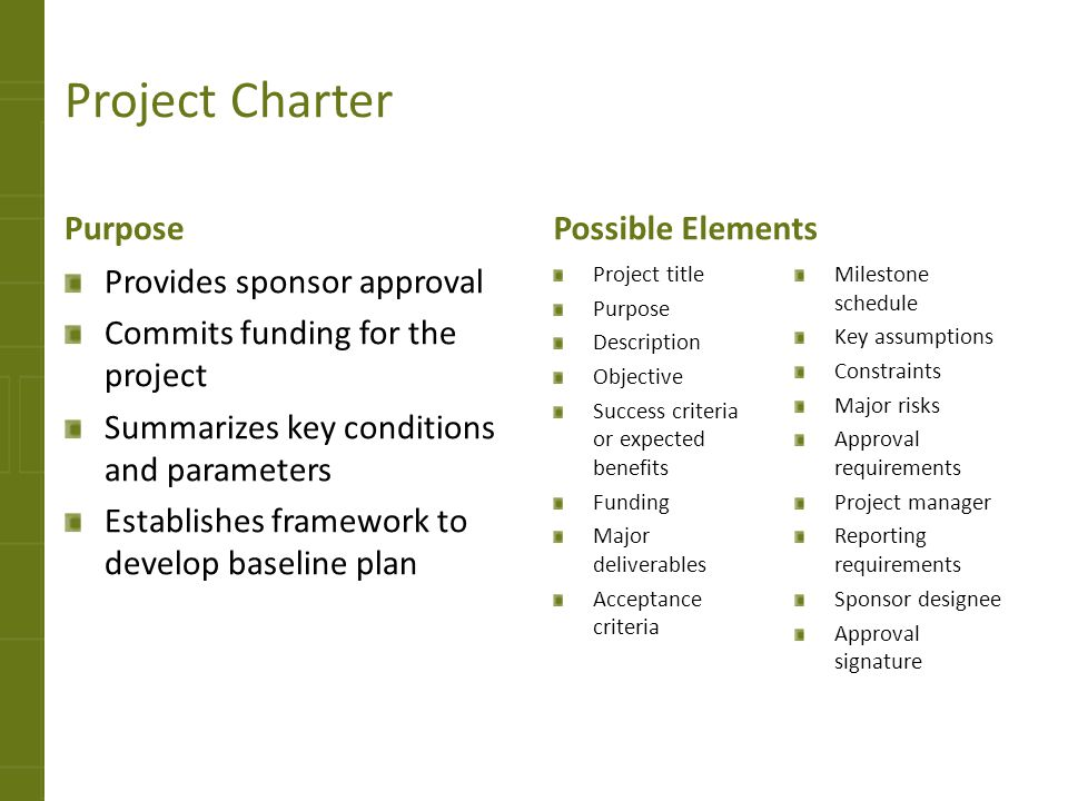 Project Charter Purpose Possible Elements Provides sponsor approval