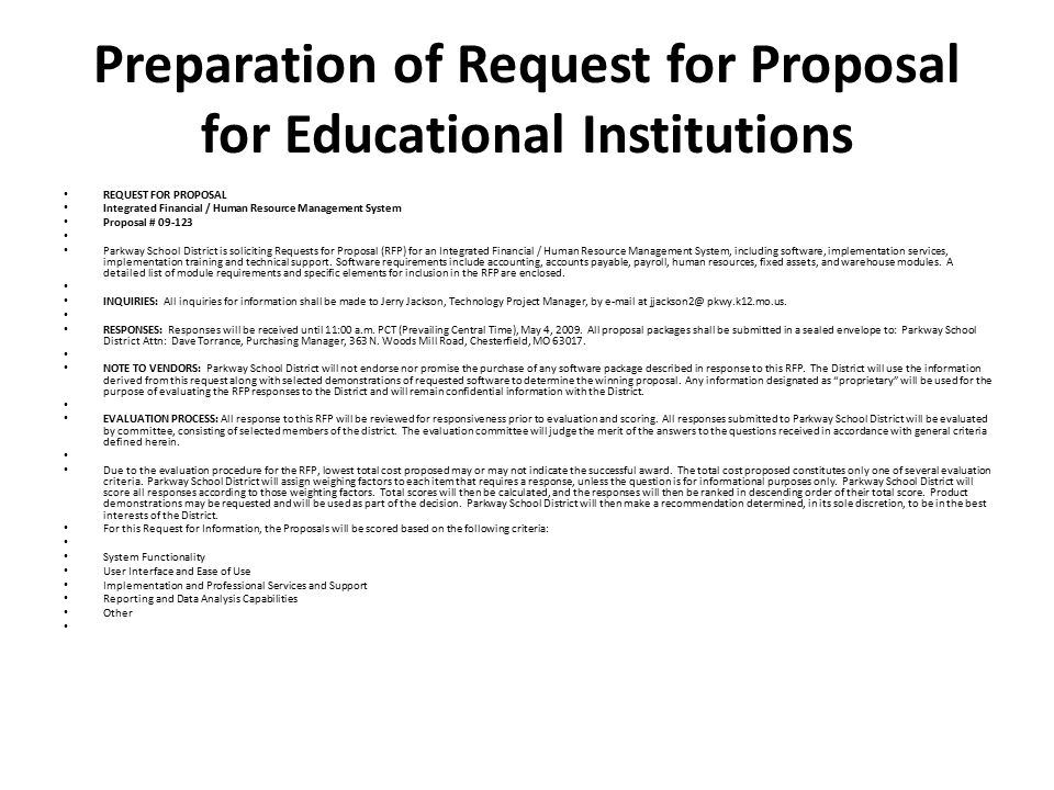 Preparation of Request for Proposal for Educational Institutions