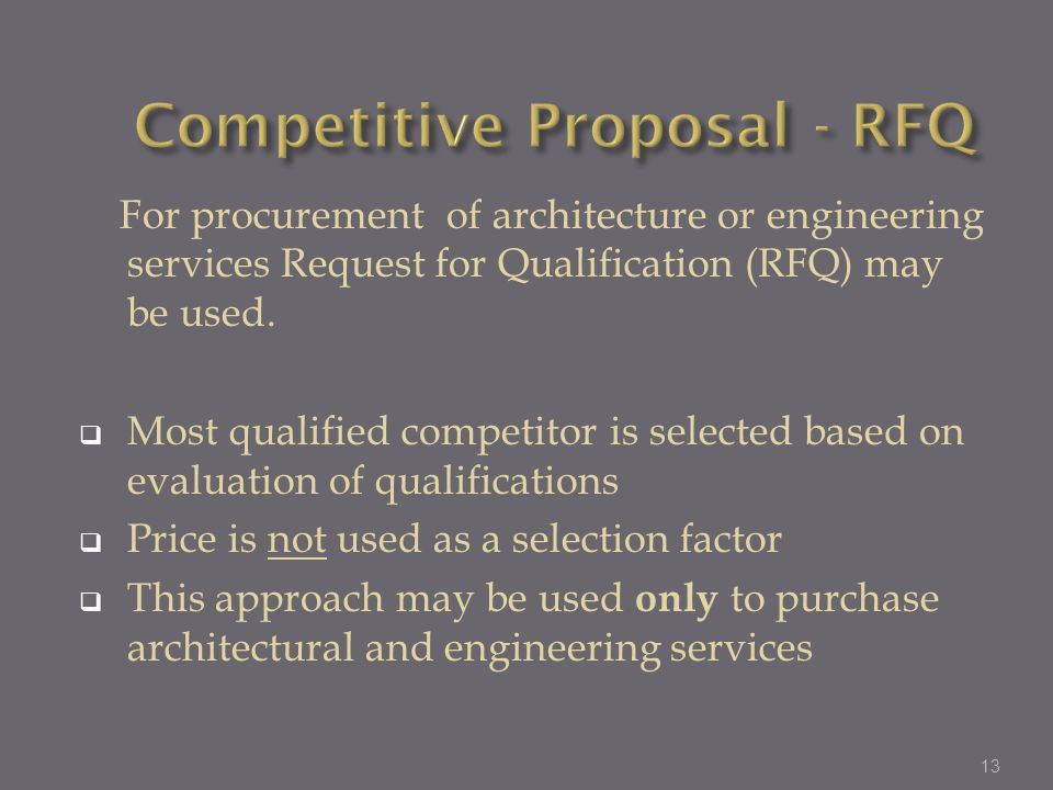 Competitive Proposal - RFQ