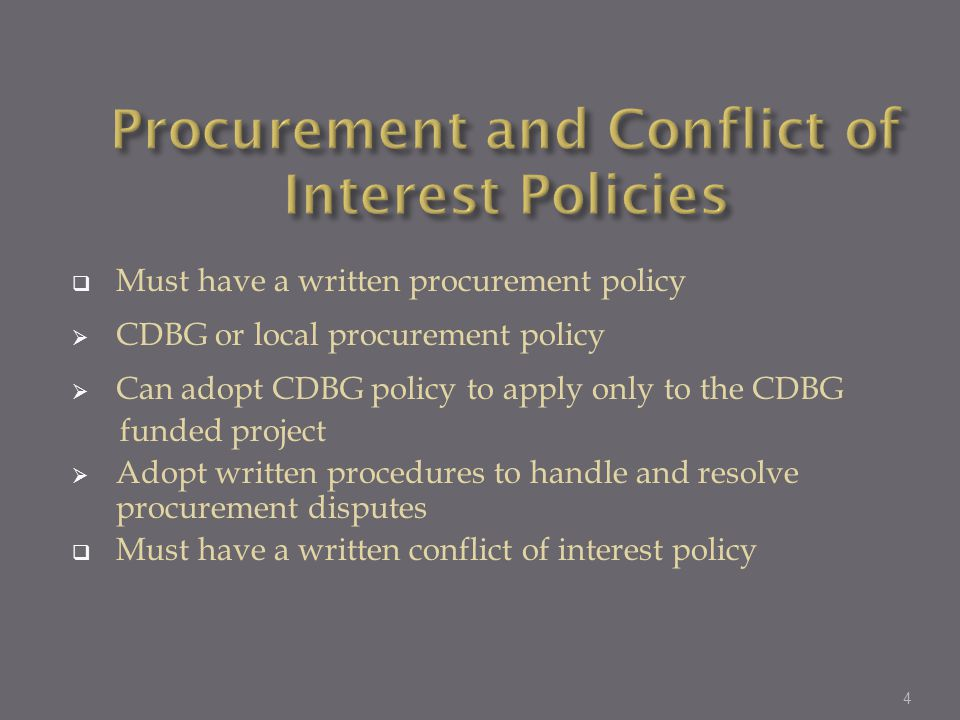 Procurement and Conflict of Interest Policies