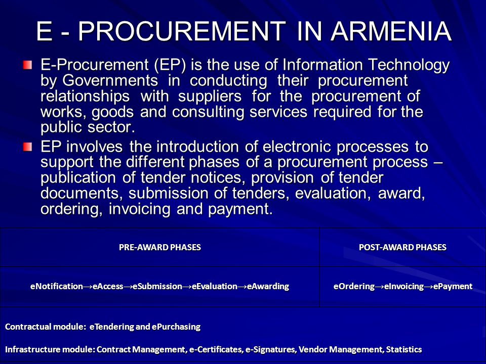 ARMENIA: Armenian E-Procurement System (ARMEPS, - ppt download