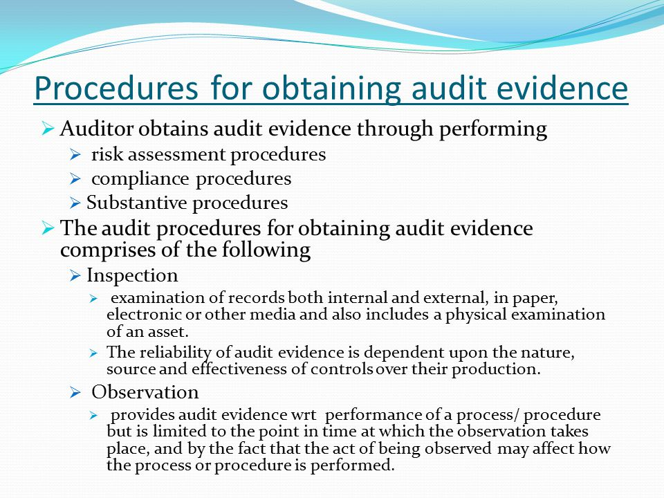 Procedures for obtaining audit evidence