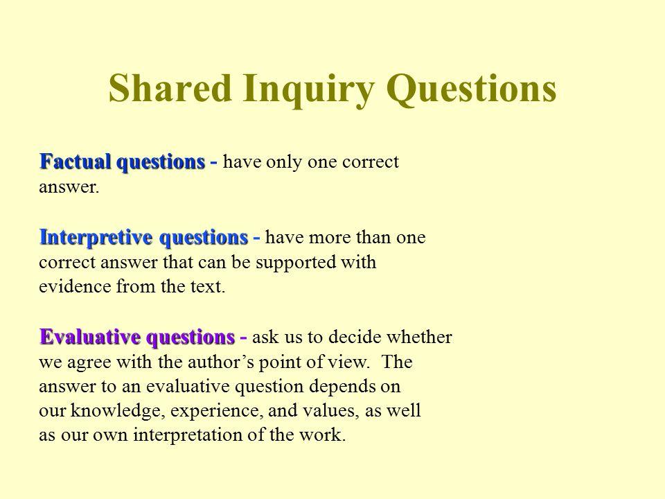 Interpretive Questions Examples