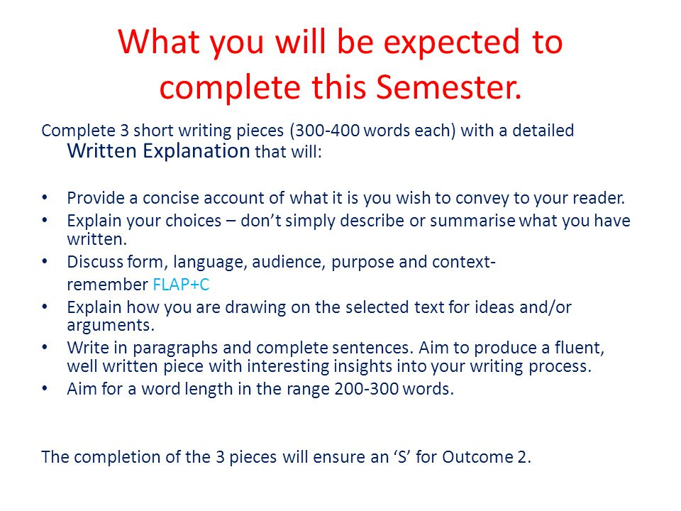 What you will be expected to complete this Semester.