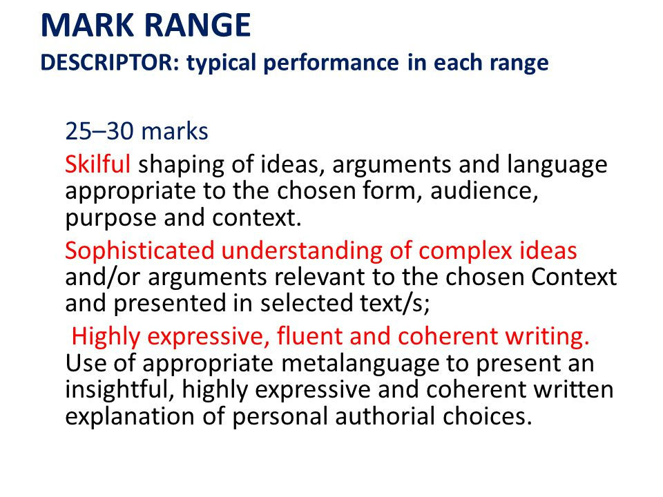 MARK RANGE DESCRIPTOR: typical performance in each range