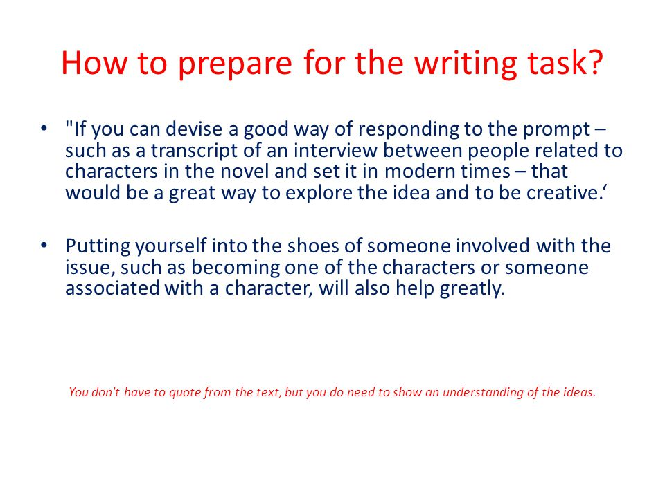 How to prepare for the writing task