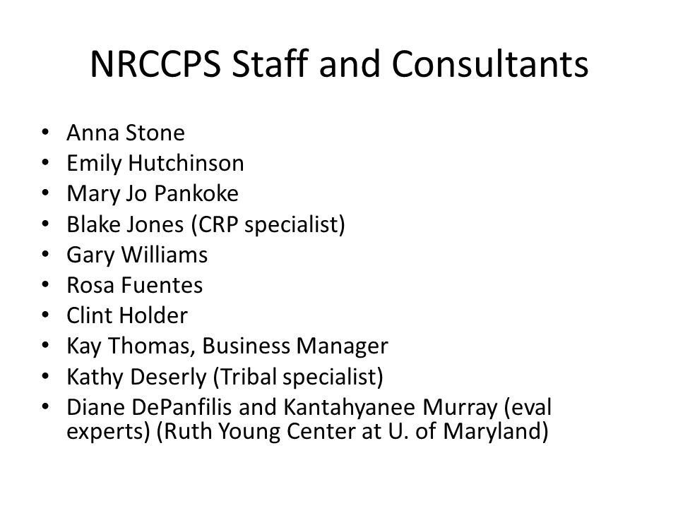 NRCCPS Staff and Consultants