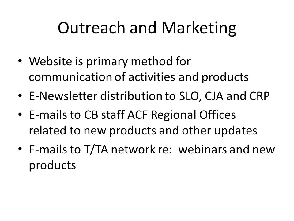 Outreach and Marketing