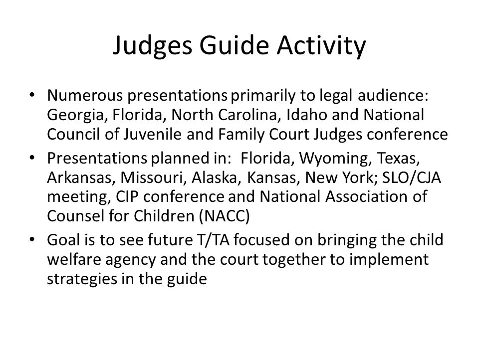 Judges Guide Activity