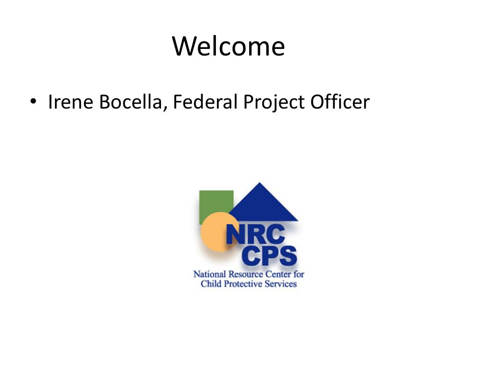 Welcome Irene Bocella, Federal Project Officer