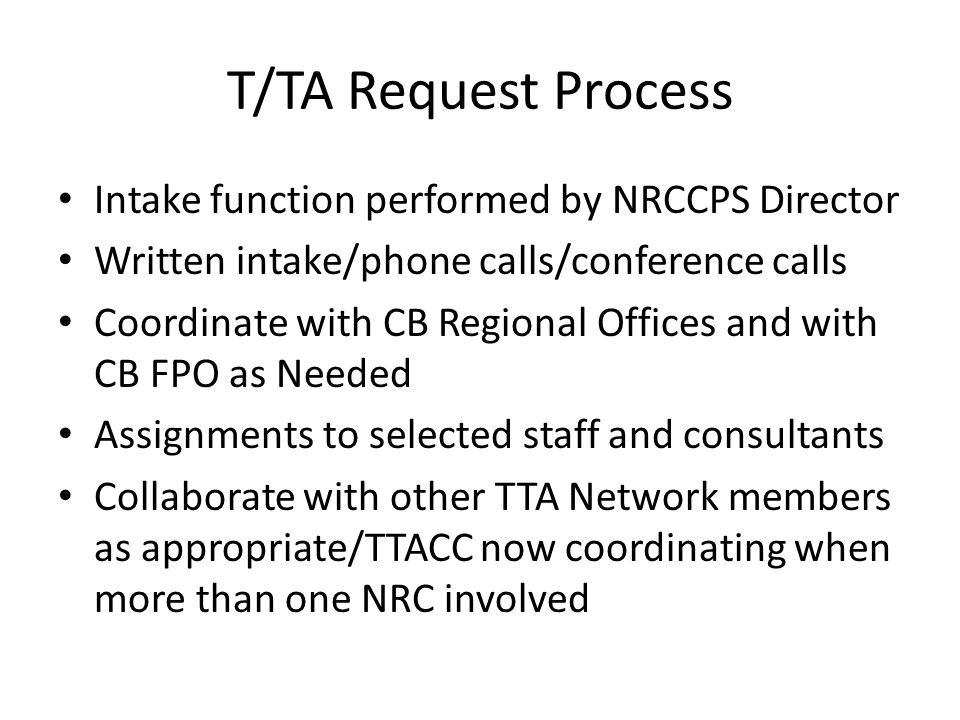 T/TA Request Process Intake function performed by NRCCPS Director