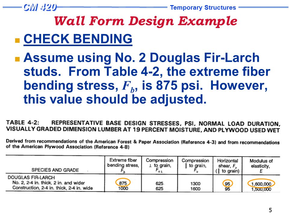 Wall Form Design Example (Continued) - ppt video online download