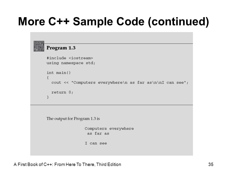More C++ Sample Code (continued)