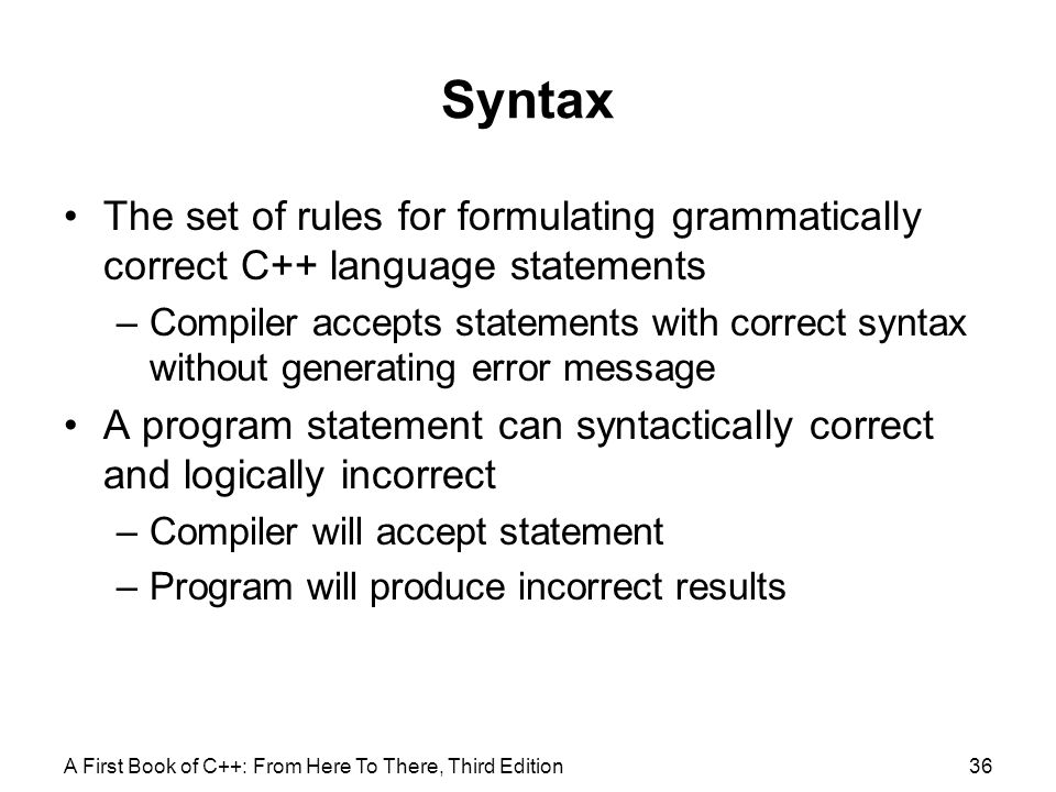 Syntax The set of rules for formulating grammatically correct C++ language statements.