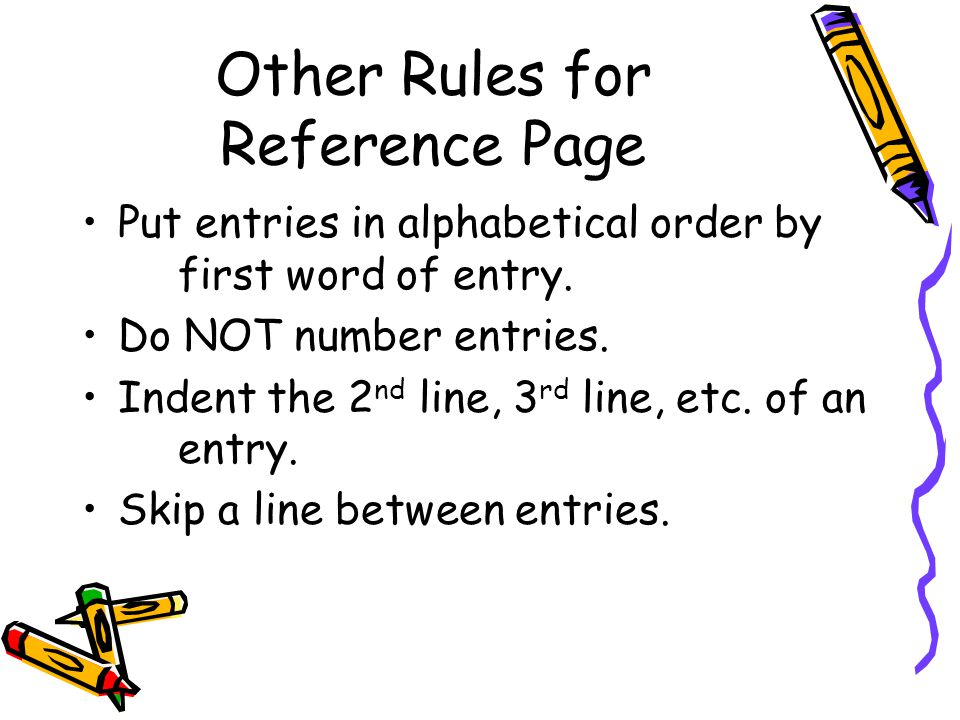 Other Rules for Reference Page