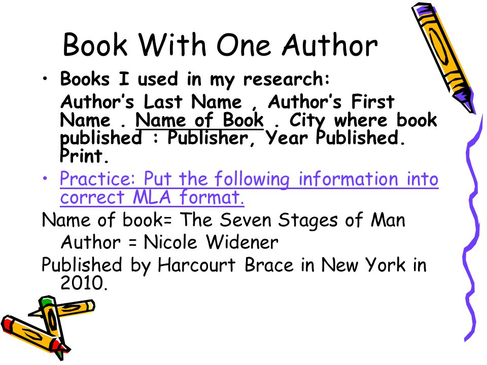 Book With One Author Books I used in my research: